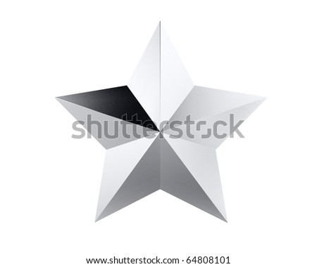 five-pointed silver star isolated on white - stock photo