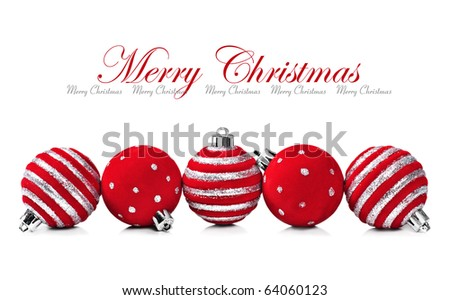 Five red christmas decoration ball on a white background with space for text - stock photo