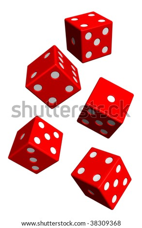Five red dices isolated on white. Computer generated 3D photo rendering. - stock photo