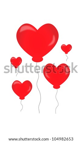 Five red  hearts air balloon - stock photo