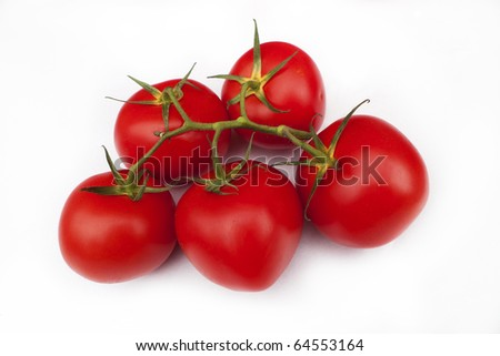 five red tomates - stock photo