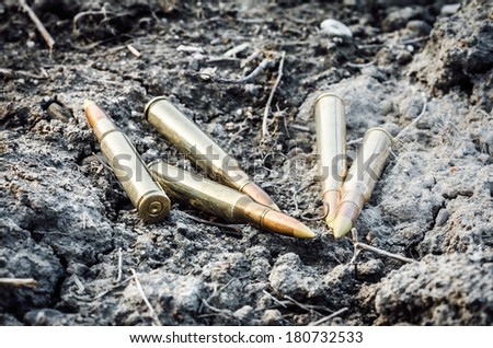 five rifle strewn bullet on the clay - stock photo