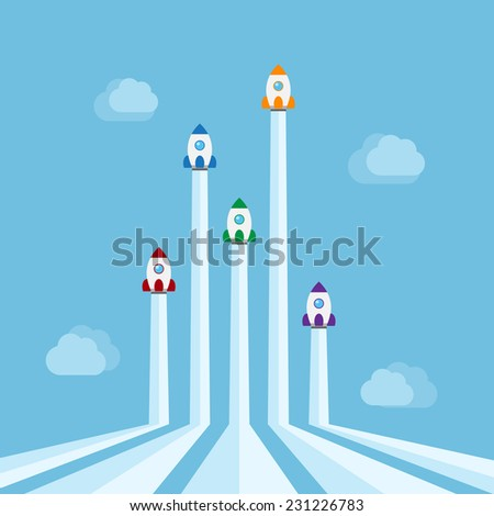 five rockets of different colors flying in the air with cloud on background, new start-up, business project, service or products concept - stock photo