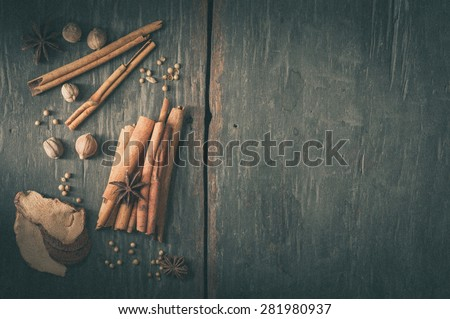 Five spices stewed ingredients with film filter effect - stock photo