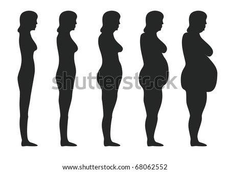 Five stages of obesity women - stock photo