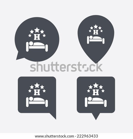 Five star Hotel apartment sign icon. Travel rest place. Sleeper symbol. Map pointers information buttons. Speech bubbles with icons. - stock photo