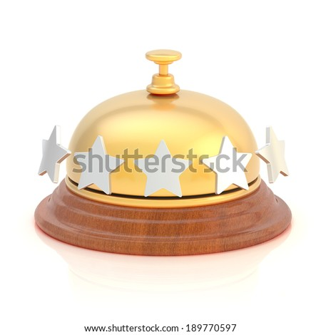 Five star hotel's reception golden bell over the white surface with reflections - stock photo