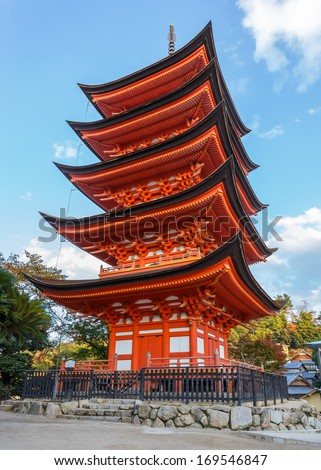 Five-storied pagoda at Toyokuni Shrine in Miyajima - stock photo
