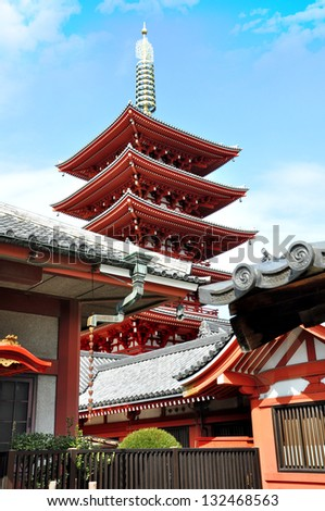 Five Stories Pagoda at Sensoji Temple, Japan - stock photo