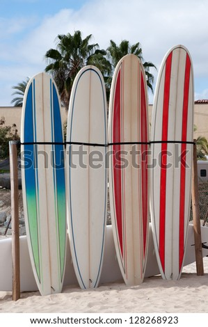 Five surfboards lined up on the beach - stock photo