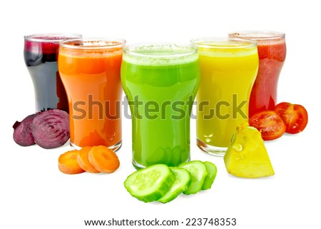 Five tall glasses with juice of carrot, cucumber, tomato, beetroot and pumpkin, vegetables isolated on white background - stock photo