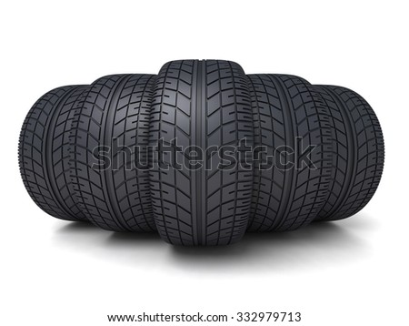 Five tire car on white background (done 3d)   - stock photo