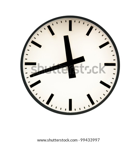 Five to twelve on the clock. Isolated on white - stock photo