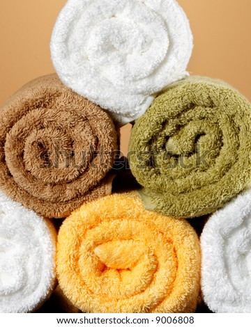 Five towels stacked - stock photo