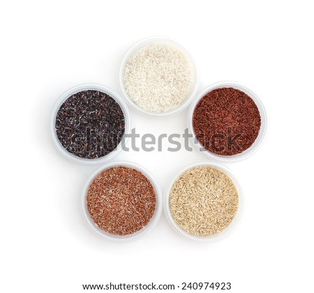 Five types of rice isolated white background - stock photo