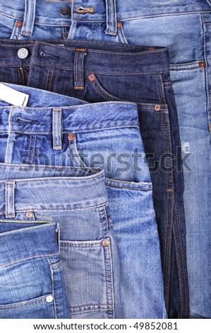 five various blue jeans - stock photo