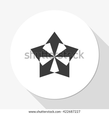 Five-way direction arrow. - stock photo