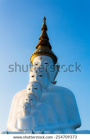 five white Buddha and the blue sky  - stock photo