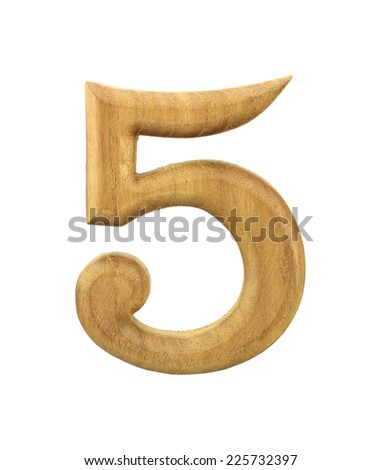 Five Wooden Isolated On White Background - stock photo