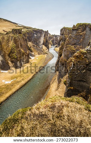 Fjadrargljufur canyon and the shallow creek, iceland - stock photo