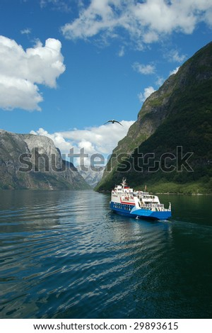 Fjord cruise in Norway - stock photo