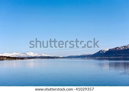 Fjord in Tromso Norway - stock photo