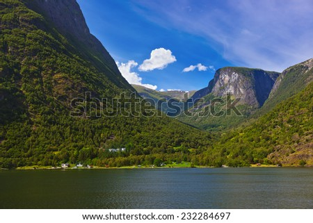 Fjord Sognefjord in Norway - nature and travel background - stock photo