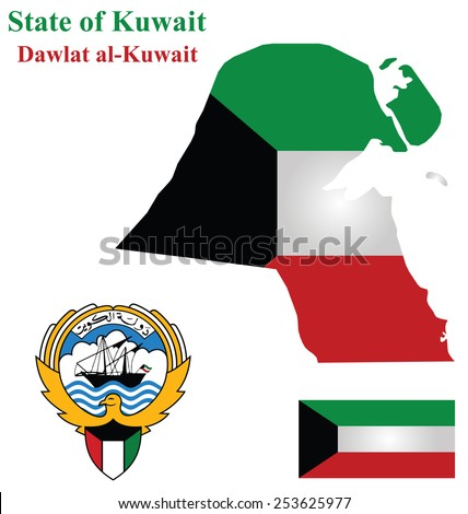 Flag and coat of arms of the Arabic country State of Kuwait overlaid on detailed outline map isolated on white background Arabic translation State of Kuwait - stock photo