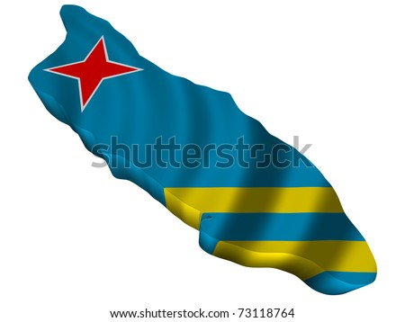Flag and map of Aruba - stock photo