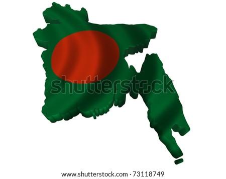 Flag and map of Bangladesh - stock photo