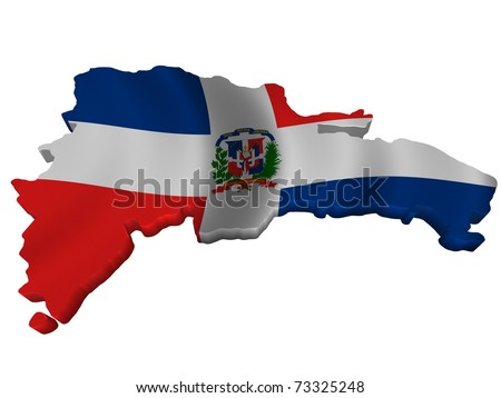 Flag and map of Dominican Republic - stock photo