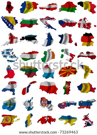 Flag and map of Europe - stock photo