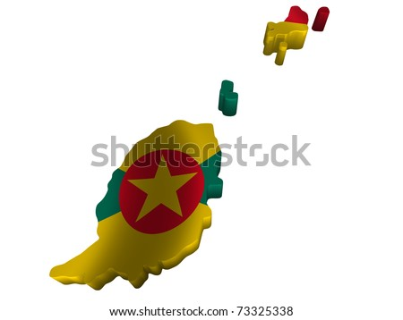 Flag and map of Grenada - stock photo