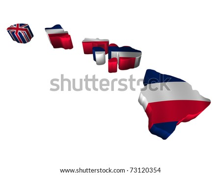 Flag and map of Hawaii - stock photo