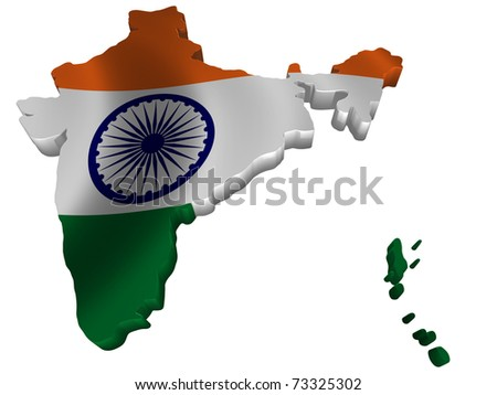 Flag and map of India - stock photo