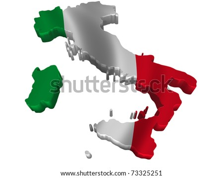 Flag and map of Italy - stock photo