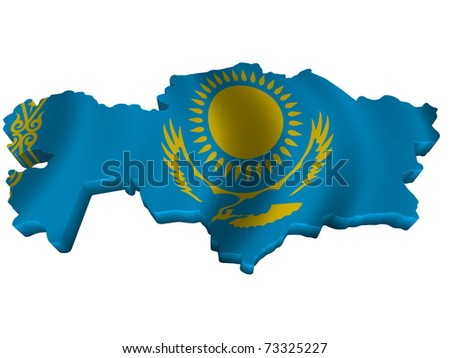 Flag and map of Kazakhstan - stock photo