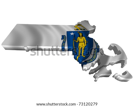 Flag and map of Massachusetts - stock photo
