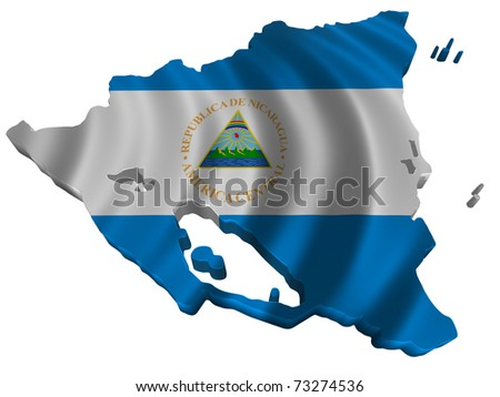 Flag and map of Nicaragua - stock photo