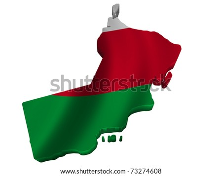 Flag and map of Oman - stock photo