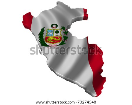 Flag and map of Peru - stock photo