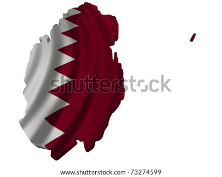Flag and map of Qatar - stock photo