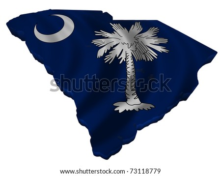 Flag and map of South Carolina - stock photo