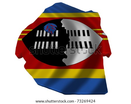 Flag and map of Swaziland - stock photo