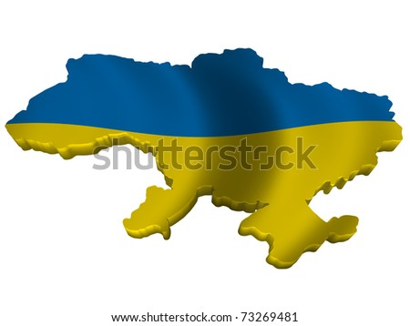 Flag and map of Ukraine - stock photo