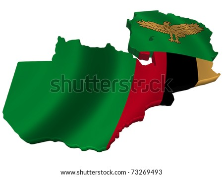 Flag and map of Zambia - stock photo