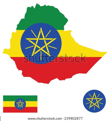 Flag and national coat of arms of the Federal Democratic Republic of Ethiopia overlaid on detailed outline map isolated on white background  - stock photo