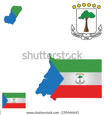 Flag and national coat of arms of the republic of equatorial guinea