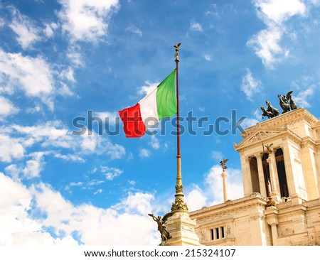 Flag at the monument  to Victor Emmanuel II. Piazza Venezia, Rome , Italy - stock photo