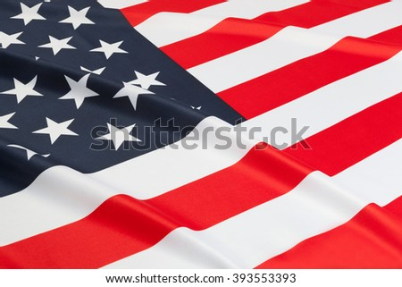 Flag blowing in the wind. Part of ruffled flag series - United States of America - stock photo
